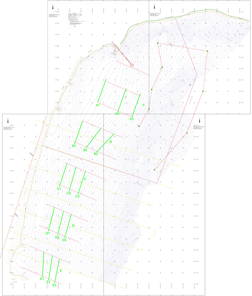 Βαθυμετρικό Διάγραμμα με τις Γεωναφερμένες Οδεύσεις